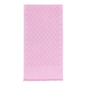 Gucci Logo GG Wool and Silk Pink Scarf NWT